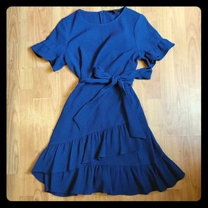 Ruffle Hem Fit and Flare Dress